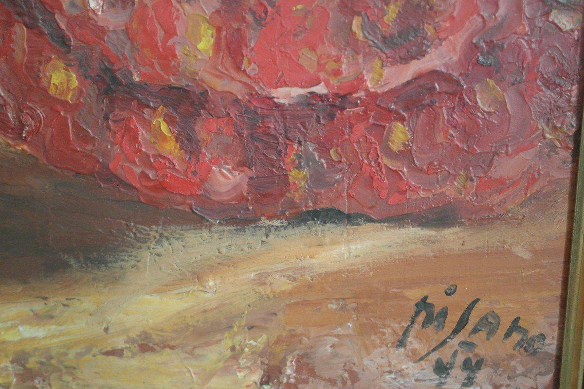 Tableau Pisano. Huile Sur Panneau datée 44 . Sbd. v1418.Livraison Gratuite.-photo-2