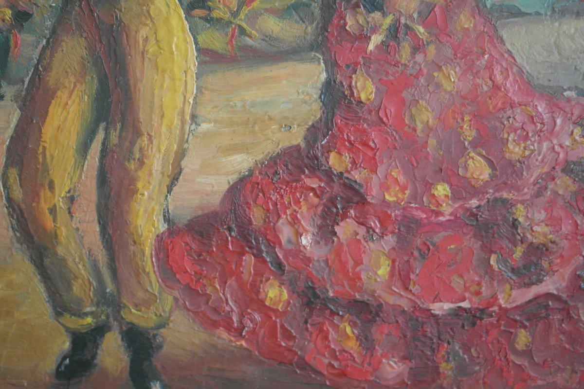 Tableau Pisano. Huile Sur Panneau datée 44 . Sbd. v1418.Livraison Gratuite.-photo-3