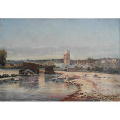 """Tableau Jb Brunel Daté 1895.ht. Sbd.v1413."""" Vue de Villeneuve les Avignon depuis le Rhône""""."""