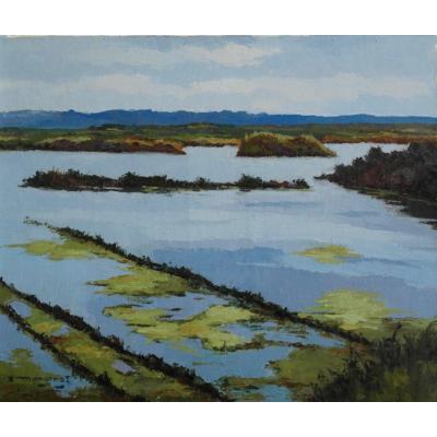 """Emile Mangenot. Oil On Canvas. Sbg. """"salt Marsh Of Batz. V1556."""