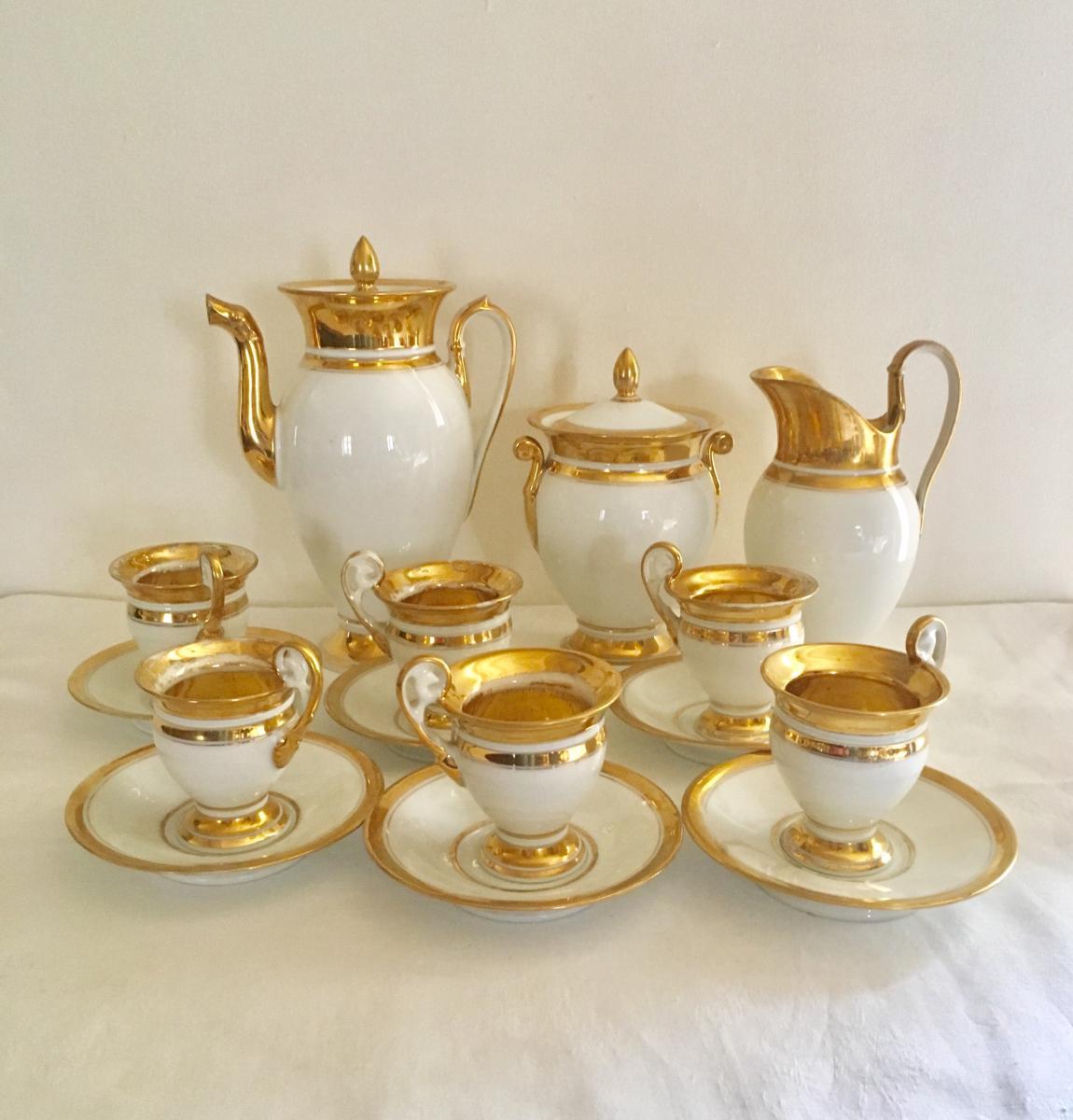 Porcelain Coffee Service In Paris Style Empire, Ep.restauration