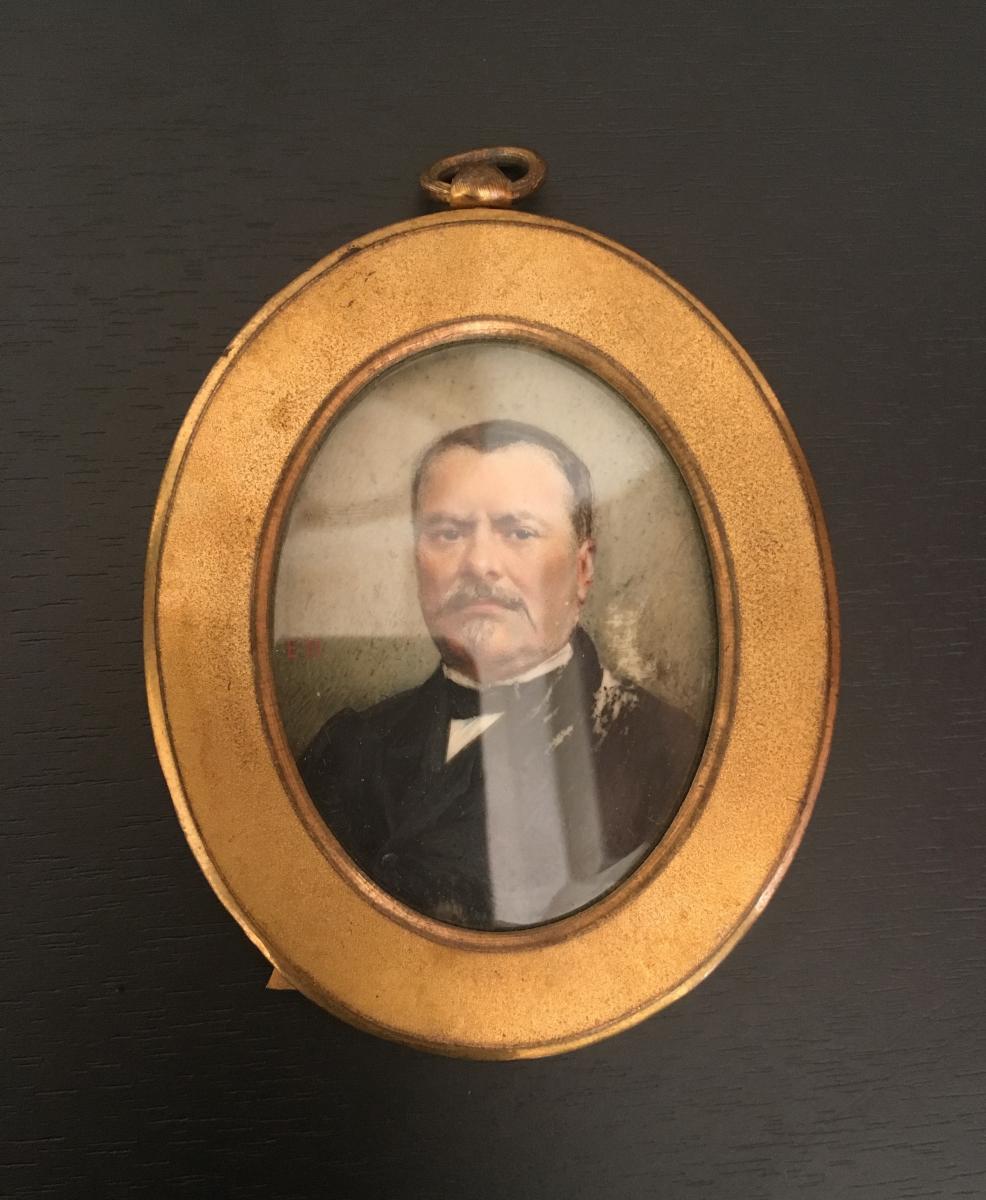 Miniature Portrait Of Man End 19 Eme