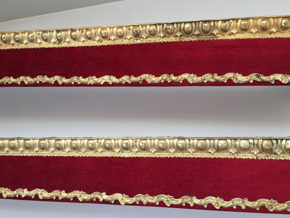 Paire de Cantonnière  Style Louis XVI  , é. Napoléon III , Velours Rouge ,  Laiton Repoussé