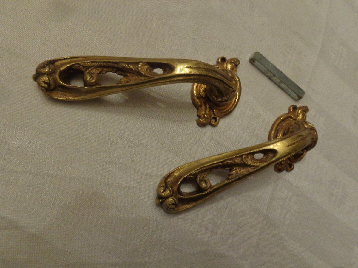 Pair Of Door Lever In Brass