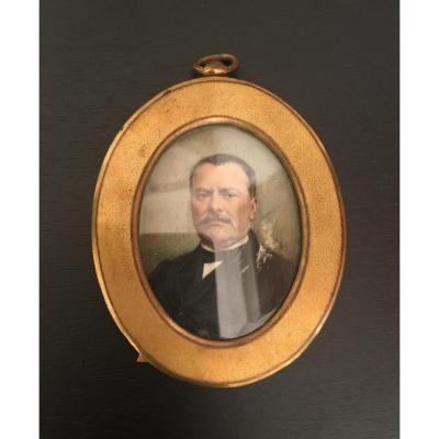 Miniature Portrait d'Homme Fin 19 Eme