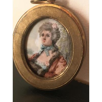 Portrait De Mme De Murphy Signé Donnery , Miniature Sur Ivoire