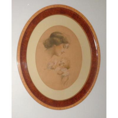 Vincent Anglade, Maternité, Dessin Réhaussé  Art Déco