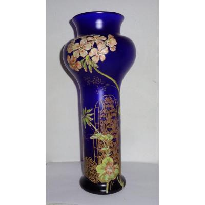 Large Vase Legras, Montjoie-st.denis (attributed) Enamelled Glass 1900