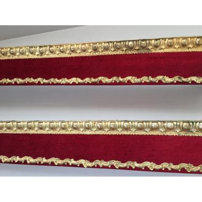 Pair Of Louis XVI Valais, é. Napoleon III, Red Velvet, Repousse Brass