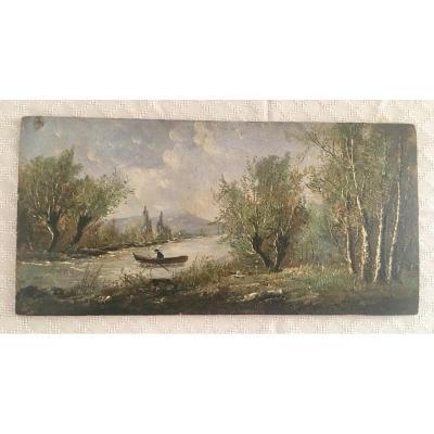 Landscape Painting On Wood End XIX