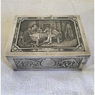 Boîte à Bijoux En Métal Argenté