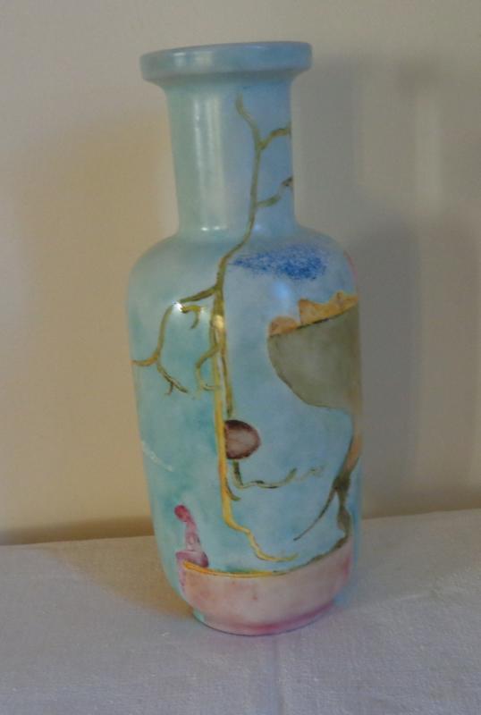 Ancien Vase En Opaline Peinte A Décor Surréaliste-photo-2