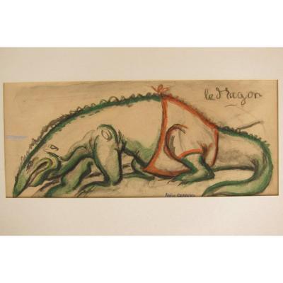 Aquarelle d'Un Dragon De Gus Bofa