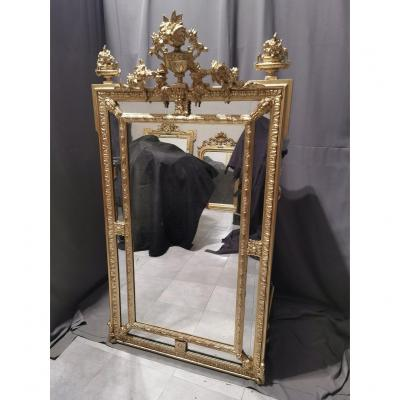 Large Mirror Or Ice In Golden Wood And Stucco Napoleon III Period Napoleon 3