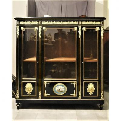 Large Showcase Or Boulle Library With Sevres Medallion Napoleon 3 Napoleon III