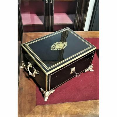 Boulle Marquetry Box Signed Paul Sormani, Crown Of Marquis Th. Napoleon 3 Napoleon III