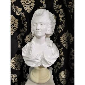 Grand Buste d'élégante En Plâtre Patiné, époque Napoléon III - Fin XIXème
