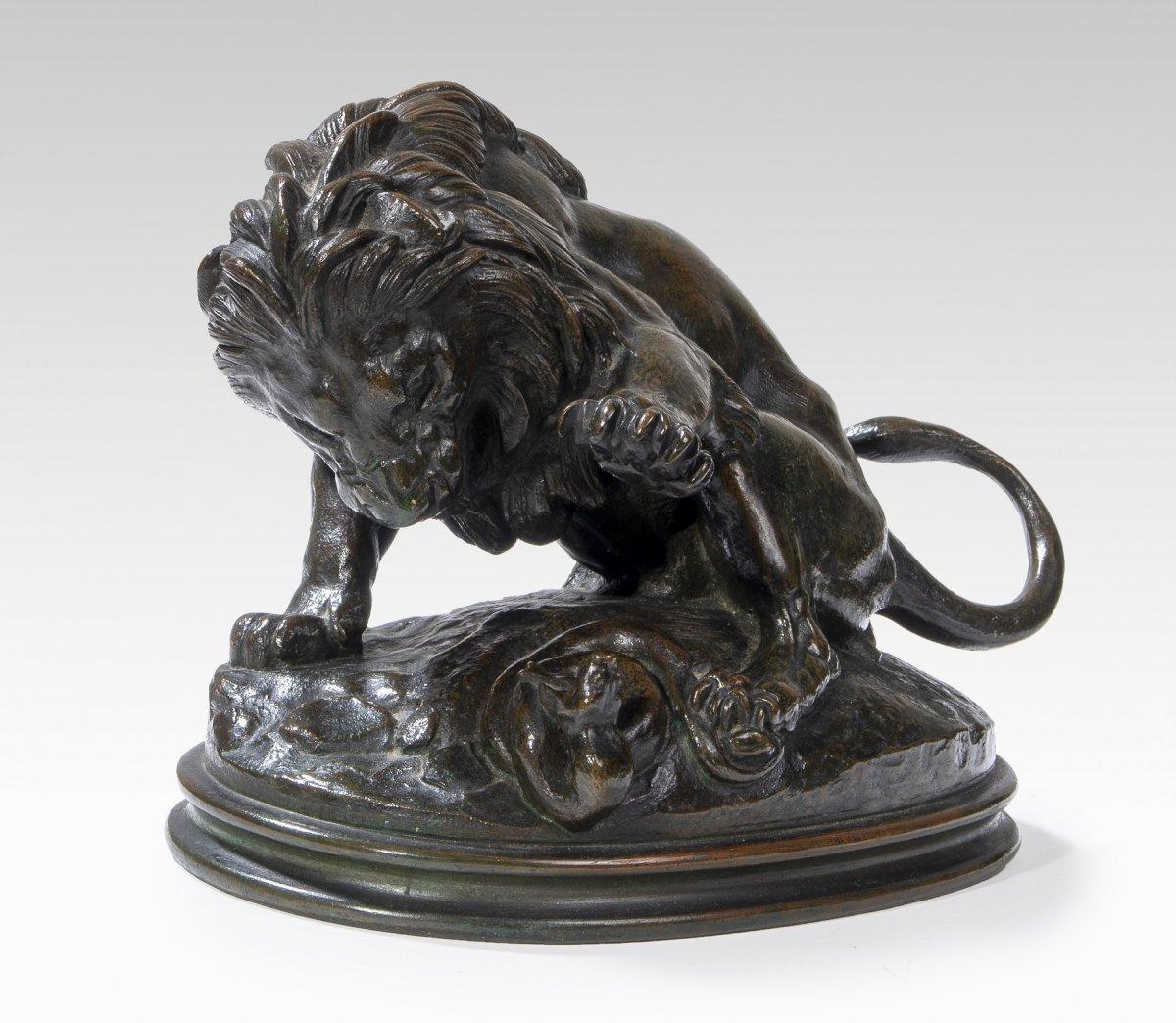 Barye Antoine-louis (1795-1875), Lion Au Serpent N°3 (1832)