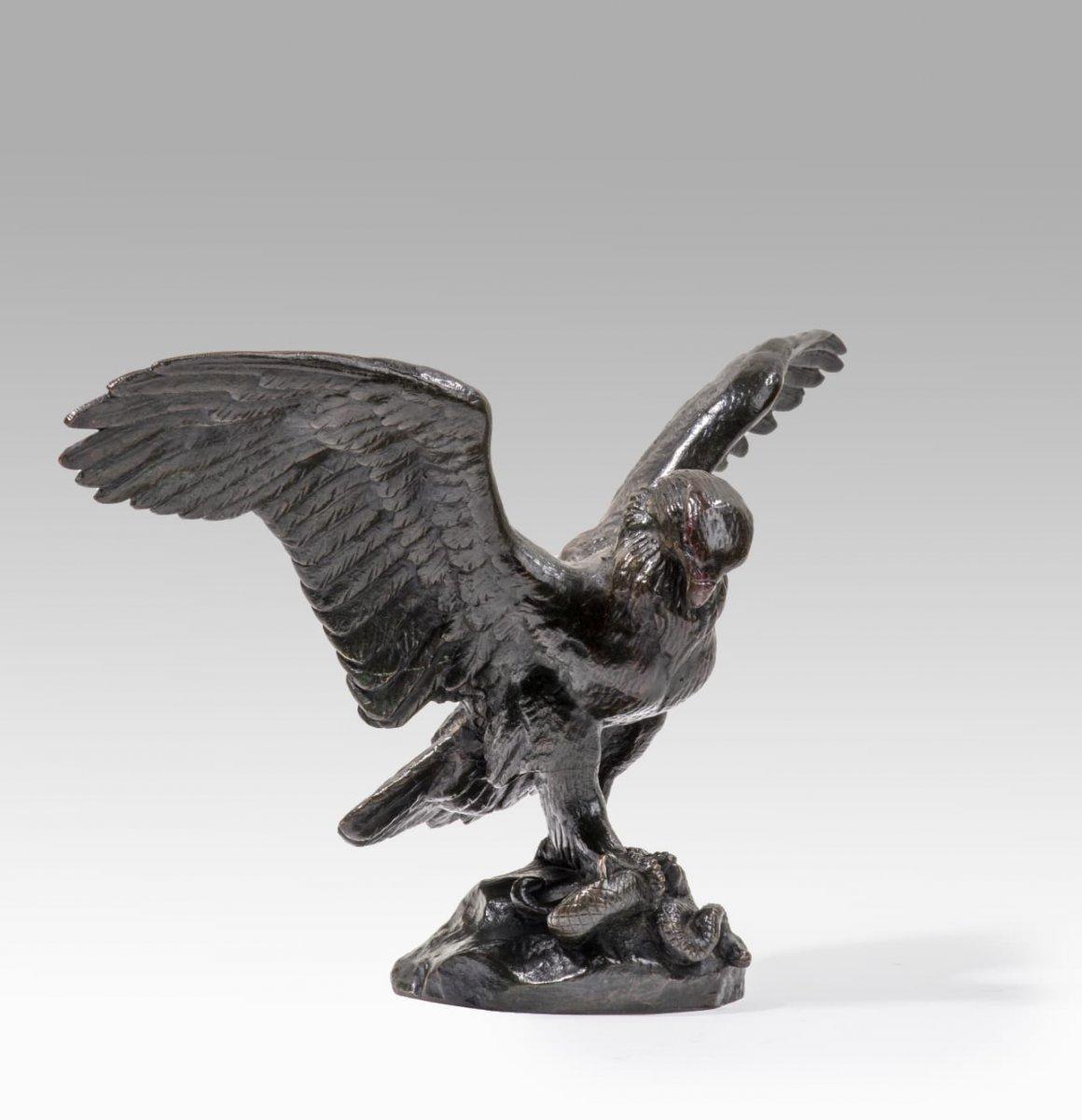 Antoine-Louis Barye (1795 - 1875) Aigle Emportant Un Serpent