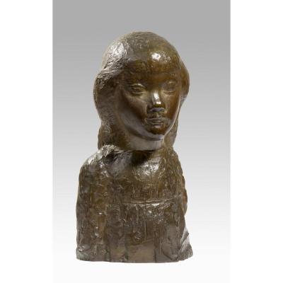 Carton Jean Maurice (1912-1988), Buste De Fillette