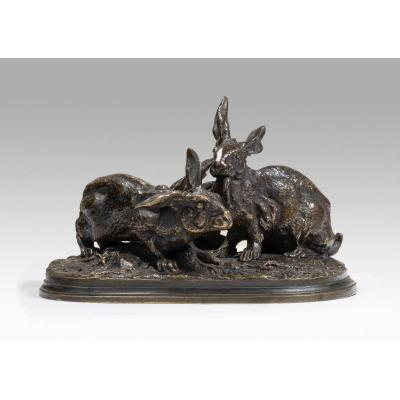 Mene Pierre-jules (1810-1879 French) Two Hares