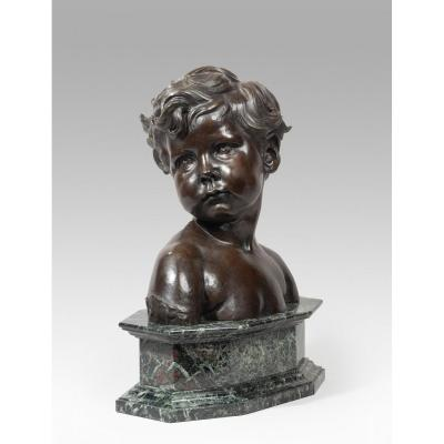 Dalou Aimé-jules (1838-1902 French), Bust Of A Child