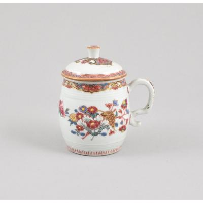 A Chinese Famille Rose Mustard Pot Decorated With Flowers. Qianlong Period