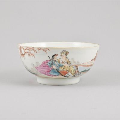 A Chinese  Famille Rose Bowl Decorated With A Couple Resting After The Hunt. Qianlong Period