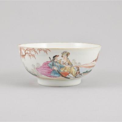 Bol à Décor D'un Couple Se Reposant Après La Chasse En Porcelaine De Chine D'époque Qianlong