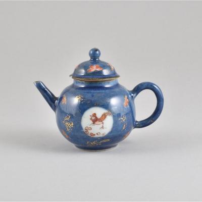 Théière Miniature à Décor Bleu Poudré En Porcelaine De Chine D'époque Kangxi