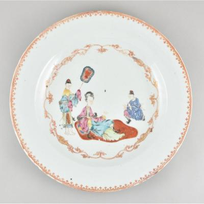 Grand Plat à Décor De Mandarins En Porcelaine De Chine d'époque Qianlong