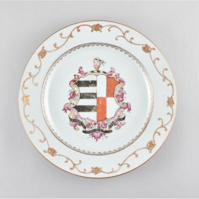 Assiette à Décor Armorié Pour Le Marché Anglais En Porcelaine De Chine D'époque Qianlong