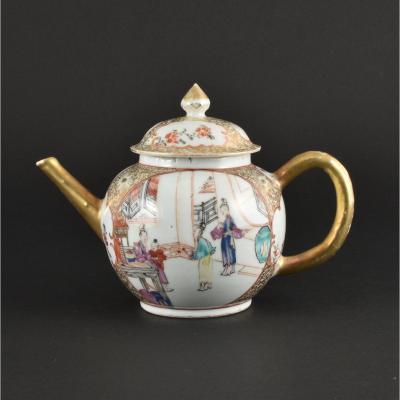Théière à Décor De Mandarins En Porcelaine De Chine d'époque Qianlong
