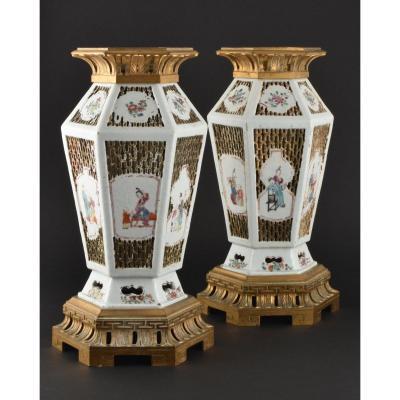 Paire De Vase Montés à Décor Réticulé En Porcelaine De Chine d'époque Yongzheng