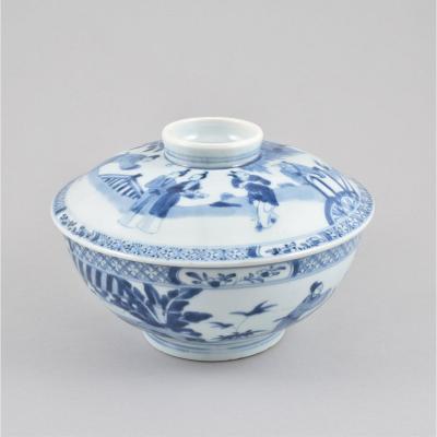 Large Bol Couvert à Décor Bleu Et Blanc De Personnages En Porcelaine De Chine D'époque Kangxi