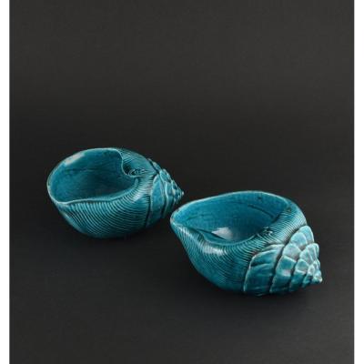 Paire De Coquillages En Biscuit émaillé Turquoise. Chine XVIIIe/XIXe