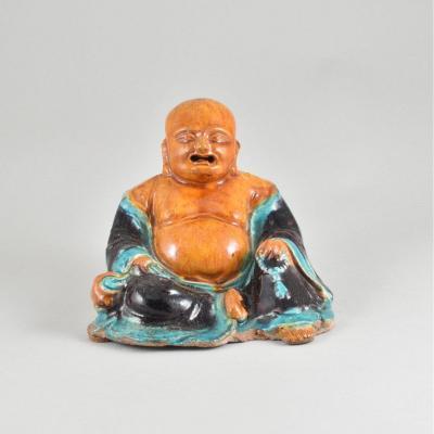 Figure En Terre Cuite émaillée Représentant Budaï. Dynastie Ming