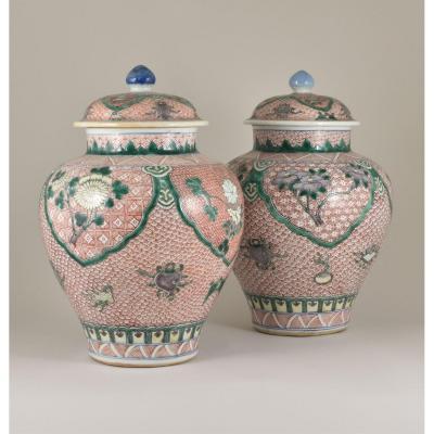 Paire De Jars Décorées Dans Les émaux Wucai En Porcelaine De Chine d'époque Qing