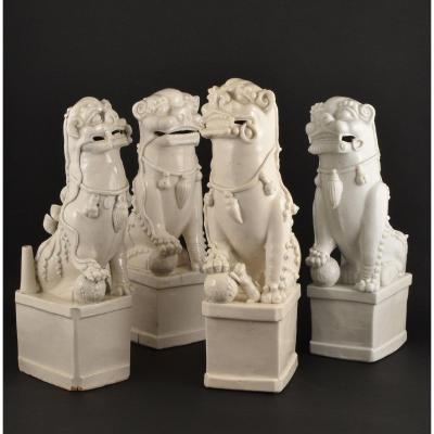 Quatre Très Grands Lions Bouddhiques En Porcelaine Blanc-de-chine / Dehua. Epoque Kangxi