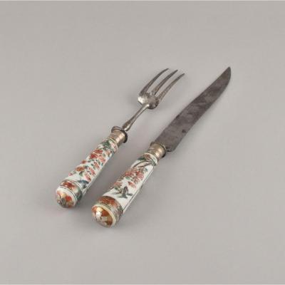 Un Couteau Et Une Fourchette En Porcelaine De Chine De La Compagnie Des Indes. Epoque Kangxi