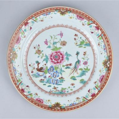 Plat Peint Dans Les émaux De La Famille Rose à Décor De Paons En Porcelaine De Chine. Qianlong