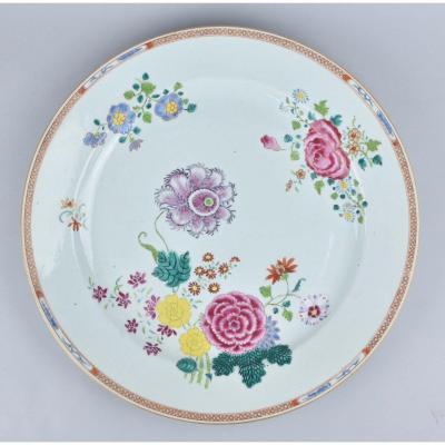 Grand Plat à Décor De Fleurs. Chine Qianlong