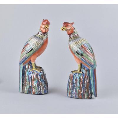 Paire De Faisans Polychrome En Porcelaine De Chine. Fin Du XVIIIe Siècle