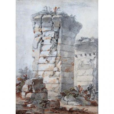Charles Louis CLERISSEAU 1721-1820 Ruine antique, dessin