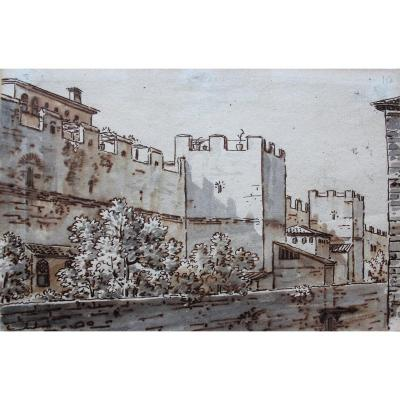 Antoine Castelan, 1772-1838, View Of A City In Italy, Drawing Circa 1800