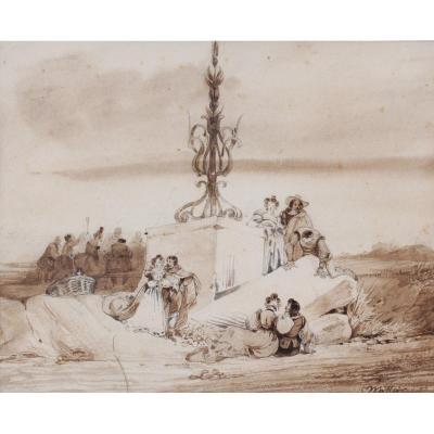 Charles Wattier, 1800-1868, The Banquet In The Countryside, Drawing, Circa 1830-40