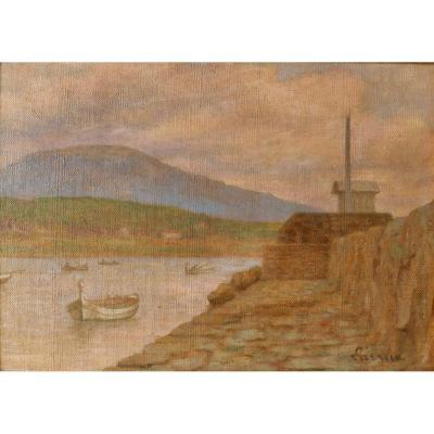 Guillaume LARRUE, 1851-1935, Port de Méditerranée (Var ?), tableau, vers 1900
