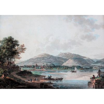 Friedrich Wilhelm Moritz (att. To), 1783-1855, Presumed View Of Neufchâtel (switzerland), Drawing