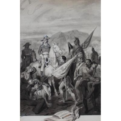 François Mes, The General Massena And His Soldiers, Drawing, Late 19th Century