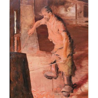 Lucien JONAS (attribué à), 1880-1947, Ouvrier dans un haut-fourneau, tableau, vers 1900